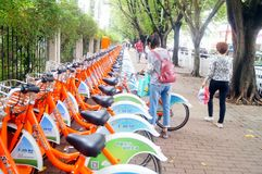 Bicycle rental facilities in the streets of the city. Street bike rental facilities, convenient for people to use public bicycles. In Shenzhen, china Stock Photography
