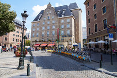 Bicycle rental in front of an hotel in Brussels. Brussels, Belgium - July 31, 2015: Bicycle rental in front of an hotel in Brussels, nearby the central station royalty free stock images