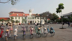 Bicycle rental, kota, jakarta, indonesia stock video footage