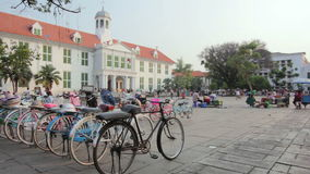 Bicycle rental, kota, jakarta, indonesia stock video