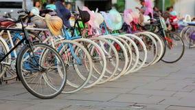 Bicycle rental, kota, jakarta, indonesia stock footage