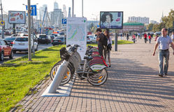 Bicycle rental in Moscow Stock Photos