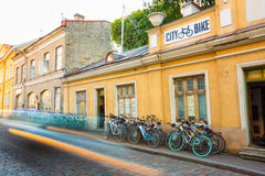 Bicycle Rental In Old Part Tallinn - Estonian Capital Stock Photo