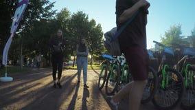 Bicycle rental in park stock video