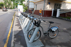 Bicycle rental point in Moscow 13.07.2017 Royalty Free Stock Photo