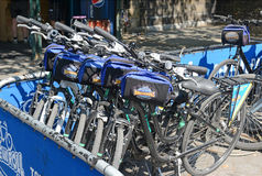 Bicycle rental program in Manhattan. NEW YORK - CIRCA SEPTEMBER 2015. Bike and Roll, a Bicycle rental program in Manhattan gives tourists another transportation Stock Images