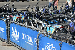 Bicycle rental program in Manhattan. NEW YORK - CIRCA SEPTEMBER 2015. Bike and Roll, a Bicycle rental program in Manhattan gives tourists another transportation Royalty Free Stock Photo