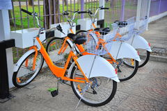 Bicycle rental service point Stock Images