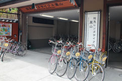 Bicycle rental shop in Arashiyama, Kyoto Royalty Free Stock Photography
