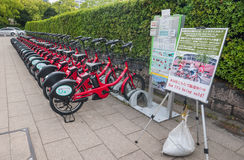 Bicycle rental staion Stock Photos