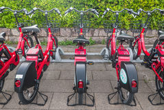 Bicycle rental staion Stock Images
