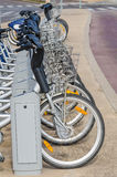 Bicycle rental station Royalty Free Stock Images