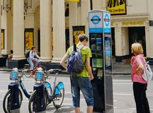 Bicycle Rental Street Kiosk in West End, London royalty free stock image