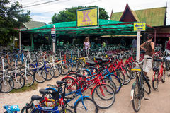 Bicycle rental in Sukhotai Historical Park Royalty Free Stock Photos
