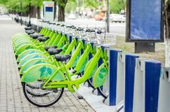 Bicycle rental system. Ecologically clean transport. bicycle sharing. Modern city transport stock image