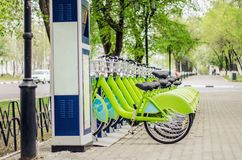 Bicycle rental system. Ecologically clean transport. bicycle sharing. Modern city transport royalty free stock images