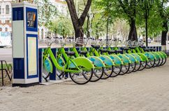 Bicycle rental system. Ecologically clean transport. bicycle sharing. Modern city transport stock photos