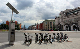 Bicycle rental to Lubyanka Square in central Moscow Royalty Free Stock Photography
