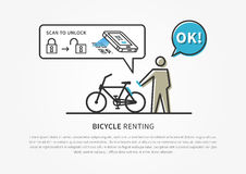 Bicycle renting app vector illustration Royalty Free Stock Photos