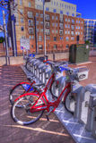 Bicycle renting station in HDR. Bicycle renting station in Denver Colorado Royalty Free Stock Image
