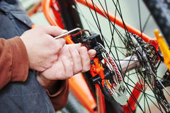 Bicycle repair or adjustment Stock Image
