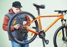 Bicycle repair or adjustment Royalty Free Stock Photos