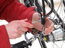 Bicycle repair, close-up Stock Photo