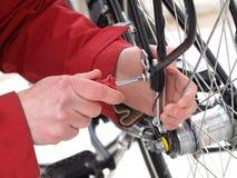 Bicycle repair, close-up stock photo