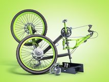 Bicycle repair concept 3d render on green gradient. Bicycle repair concept 3d render on green stock illustration