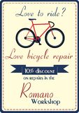 Bicycle repair poster Royalty Free Stock Photography