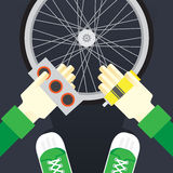 Bicycle repair, seal the tire puncture Royalty Free Stock Photography