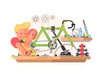 Bicycle repair service Stock Photo