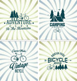 Bicycle retro vintage badge background collection. Adventure Bicycle retro vintage backgroundcollection Stock Images