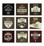 Bicycle retro vintage badge collection Royalty Free Stock Photos