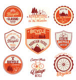 Bicycle retro vintage badge collection. Isolated on white background Stock Photos