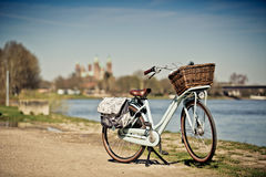 Bicycle at the Rhine Stock Image