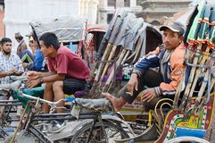 Bicycle rickshaw driver resting at Durbar square ,Kathmandu Royalty Free Stock Photos