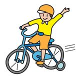 Bicycle ride. Boy riding bicycle vector illustration isolated on white background Stock Photos