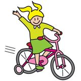 Bicycle ride. Girl riding bicycle vector illustration isolated on white background Stock Photo