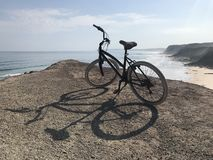 Bicycle ride by the cliffs royalty free stock image