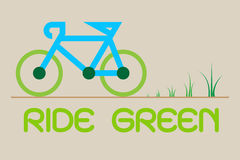 Bicycle ride for Green Eco Vector, illustration.  Royalty Free Stock Photos