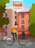 Bicycle Ride Illustration. Bicycle ride composition with young man on bike on city buildings background in summer time vector illustration Royalty Free Stock Image