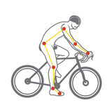 Bicycle ride. Man ride bicycle outline anatomy Royalty Free Stock Photos
