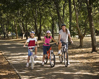 Bicycle Ride in the Park. Dad and two daughters go for an afternoon ride on their bikes Stock Photos