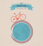 Bicycle ride Poster. Poster of the bike and the planet Stock Images