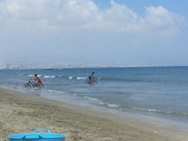 Bicycle ride in the sea Stock Photo