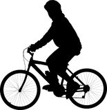 Bicycle rider. Silhouette isolated on white. (vector illustration stock illustration