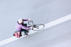 Bicycle rider in an aerial view Stock Photography