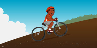 Bicycle rider hill Royalty Free Stock Photo