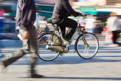 Bicycle rider in motion blur Royalty Free Stock Image